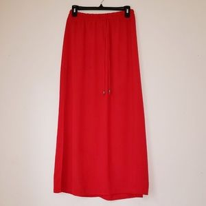 Red maxi skirt with two splits